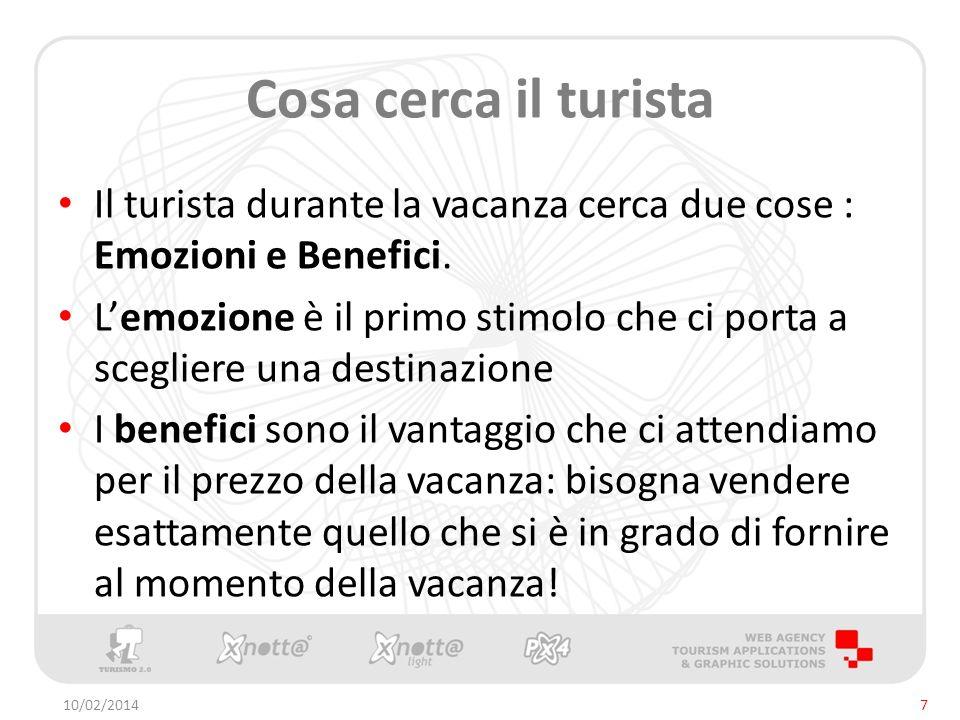 Cosa cerca il turista Il turista durante la vacanza cerca due cose : Emozioni e Benefici.