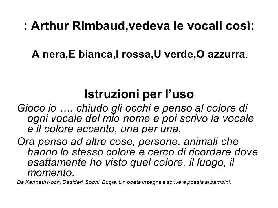 : Arthur Rimbaud,vedeva le vocali così: A nera,E bianca,I rossa,U verde,O azzurra. Istruzioni per luso Gioco io …. chiudo gli occhi e penso al colore
