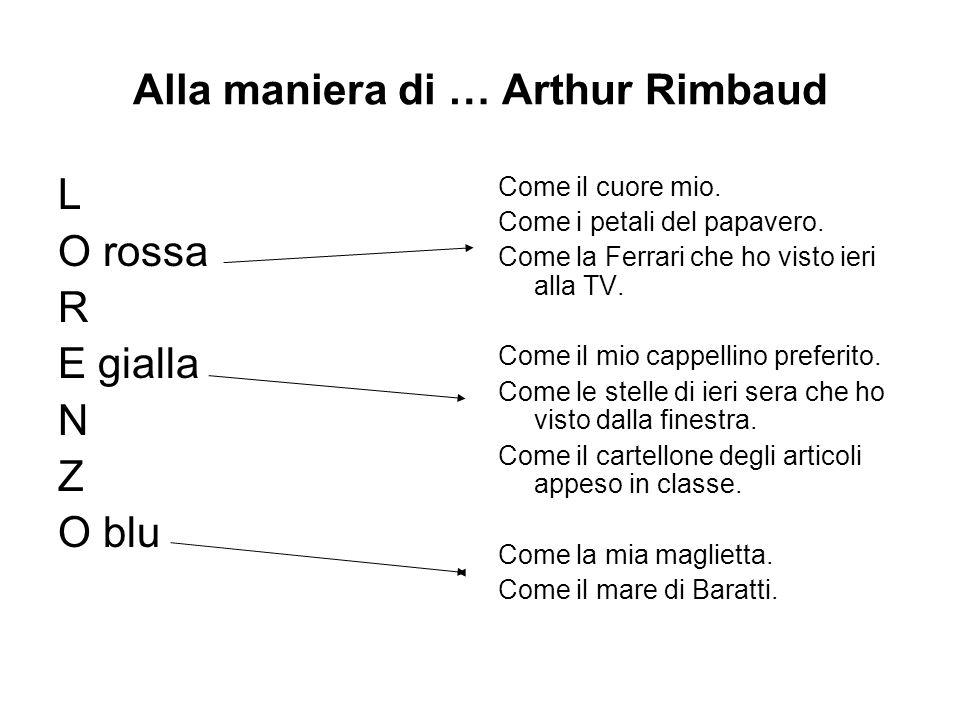 Alla maniera di … Arthur Rimbaud L O rossa R E gialla N Z O blu Come il cuore mio. Come i petali del papavero. Come la Ferrari che ho visto ieri alla