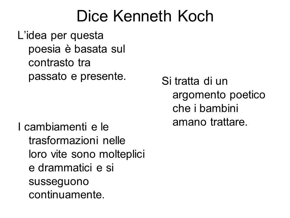 Dice Kenneth Koch Lidea per questa poesia è basata sul contrasto tra passato e presente. Si tratta di un argomento poetico che i bambini amano trattar