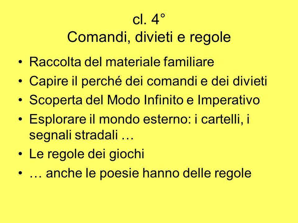 cl. 4° Comandi, divieti e regole Raccolta del materiale familiare Capire il perché dei comandi e dei divieti Scoperta del Modo Infinito e Imperativo E
