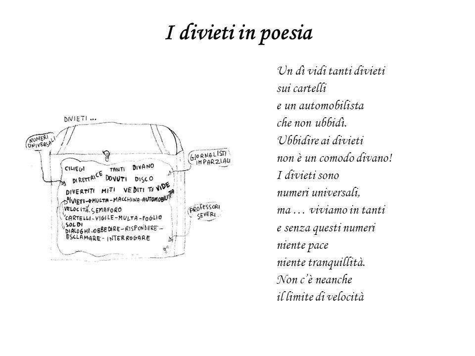 I divieti in poesia Un dì vidi tanti divieti sui cartelli e un automobilista che non ubbidì. Ubbidire ai divieti non è un comodo divano! I divieti son