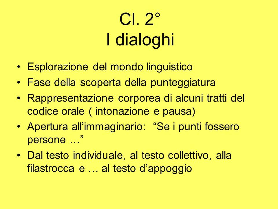 Cl. 2° I dialoghi Esplorazione del mondo linguistico Fase della scoperta della punteggiatura Rappresentazione corporea di alcuni tratti del codice ora
