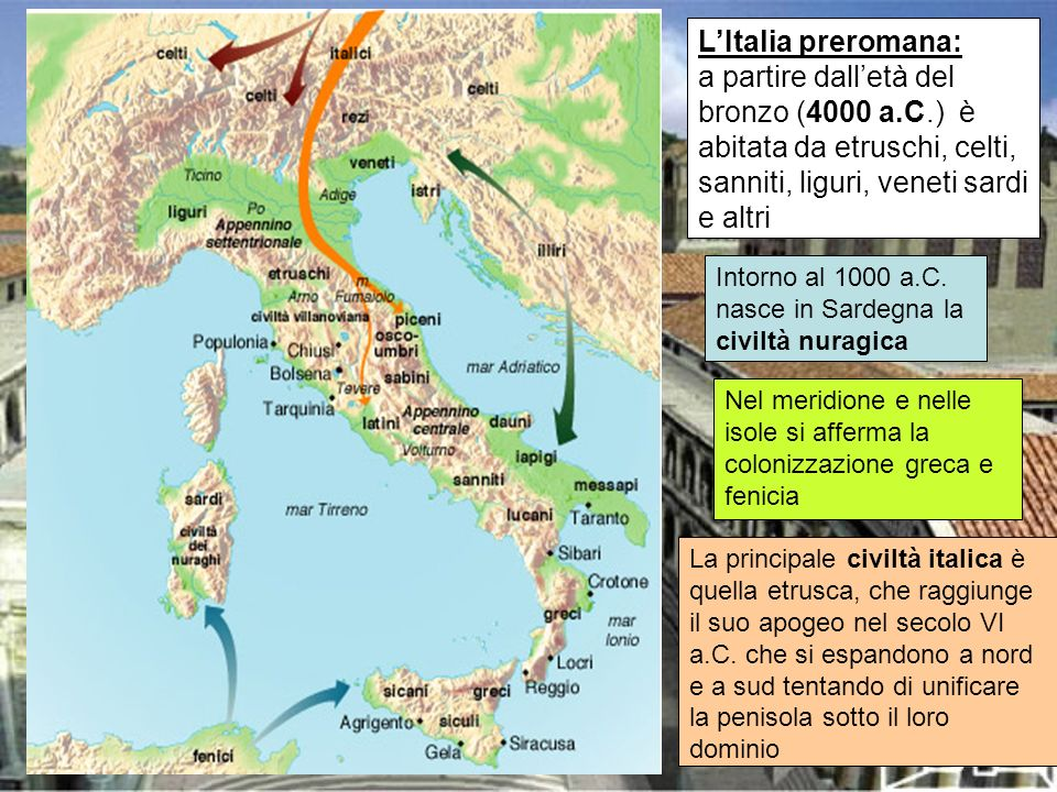 LItalia preromana: a partire dalletà del bronzo (4000 a.C.) è abitata da etruschi, celti, sanniti, liguri, veneti sardi e altri Intorno al 1000 a.C. n