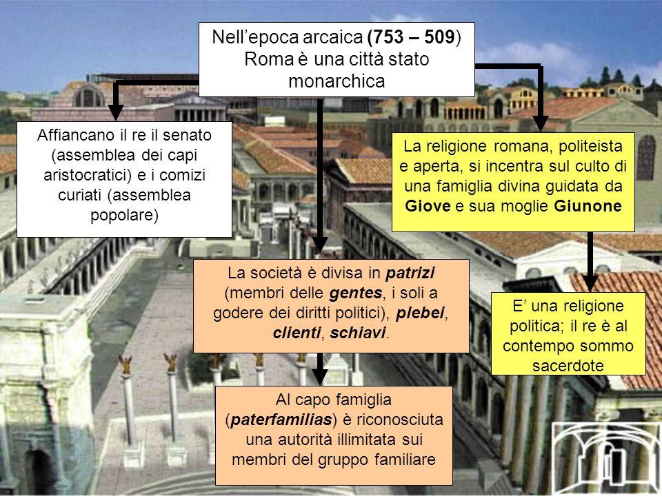 Nellepoca arcaica (753 – 509) Roma è una città stato monarchica La società è divisa in patrizi (membri delle gentes, i soli a godere dei diritti polit