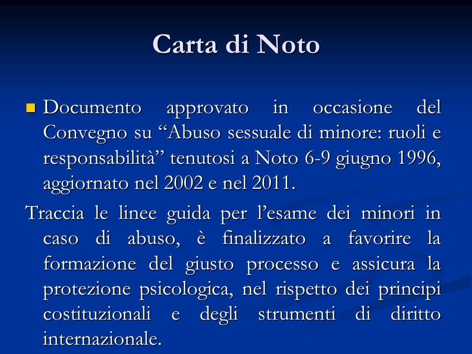 Carta di Noto Documento approvato in occasione del Convegno su Abuso sessuale di minore: ruoli e responsabilità tenutosi a Noto 6-9 giugno 1996, aggiornato nel 2002 e nel 2011.