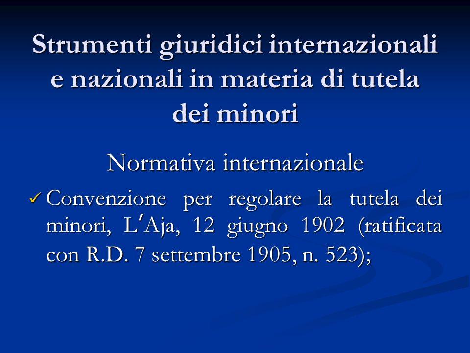 Strumenti giuridici internazionali e nazionali in materia di tutela dei minori Normativa internazionale Convenzione per regolare la tutela dei minori, LAja, 12 giugno 1902 (ratificata con R.D.