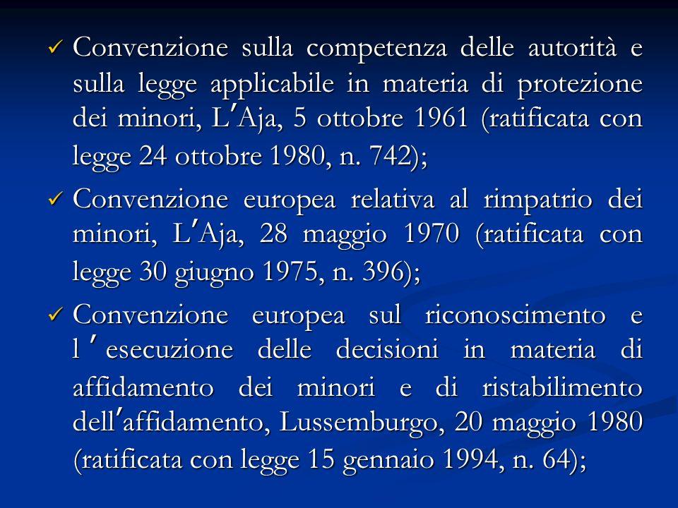 Convenzione sulla competenza delle autorità e sulla legge applicabile in materia di protezione dei minori, LAja, 5 ottobre 1961 (ratificata con legge 24 ottobre 1980, n.