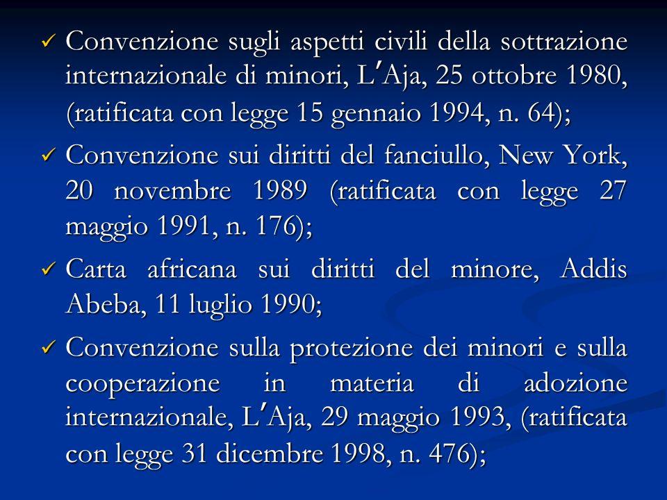Convenzione sugli aspetti civili della sottrazione internazionale di minori, LAja, 25 ottobre 1980, (ratificata con legge 15 gennaio 1994, n.
