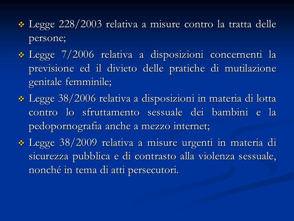Legge 228/2003 relativa a misure contro la tratta delle persone; Legge 228/2003 relativa a misure contro la tratta delle persone; Legge 7/2006 relativa a disposizioni concernenti la previsione ed il divieto delle pratiche di mutilazione genitale femminile; Legge 7/2006 relativa a disposizioni concernenti la previsione ed il divieto delle pratiche di mutilazione genitale femminile; Legge 38/2006 relativa a disposizioni in materia di lotta contro lo sfruttamento sessuale dei bambini e la pedopornografia anche a mezzo internet; Legge 38/2006 relativa a disposizioni in materia di lotta contro lo sfruttamento sessuale dei bambini e la pedopornografia anche a mezzo internet; Legge 38/2009 relativa a misure urgenti in materia di sicurezza pubblica e di contrasto alla violenza sessuale, nonché in tema di atti persecutori.