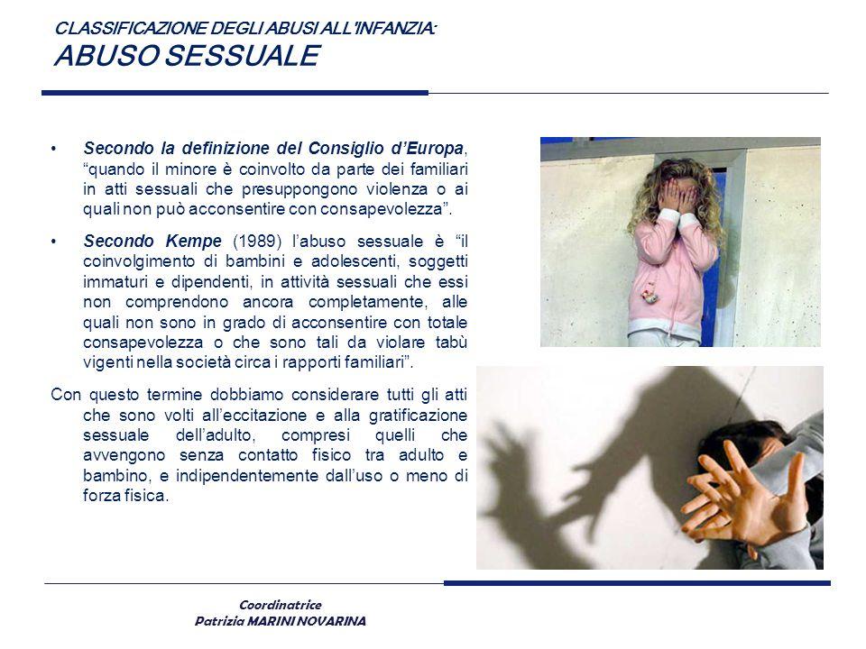 Coordinatrice Patrizia MARINI NOVARINA CLASSIFICAZIONE DEGLI ABUSI ALL'INFANZIA: ABUSO SESSUALE Secondo la definizione del Consiglio dEuropa, quando i