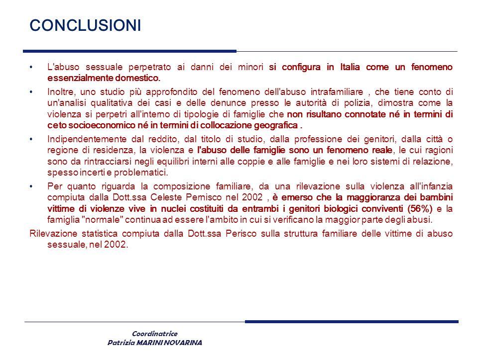 Coordinatrice Patrizia MARINI NOVARINA CONCLUSIONI L'abuso sessuale perpetrato ai danni dei minori si configura in Italia come un fenomeno essenzialme