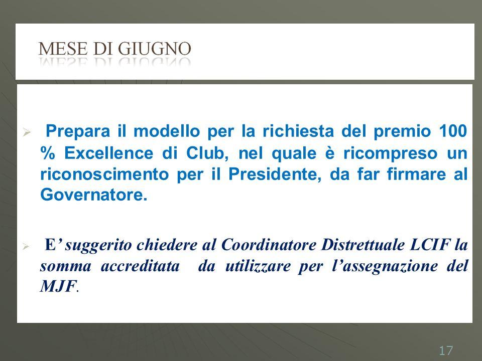 Prepara il modello per la richiesta del premio 100 % Excellence di Club, nel quale è ricompreso un riconoscimento per il Presidente, da far firmare al Governatore.