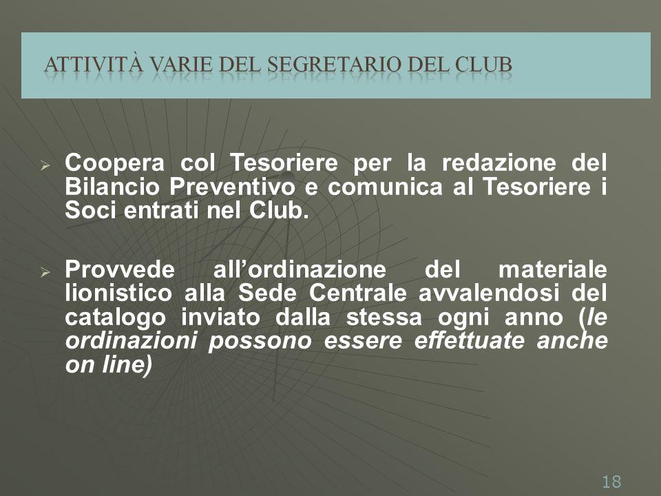 Coopera col Tesoriere per la redazione del Bilancio Preventivo e comunica al Tesoriere i Soci entrati nel Club.