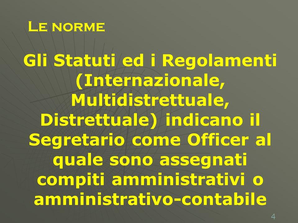 4 Gli Statuti ed i Regolamenti (Internazionale, Multidistrettuale, Distrettuale) indicano il Segretario come Officer al quale sono assegnati compiti amministrativi o amministrativo-contabile Le norme