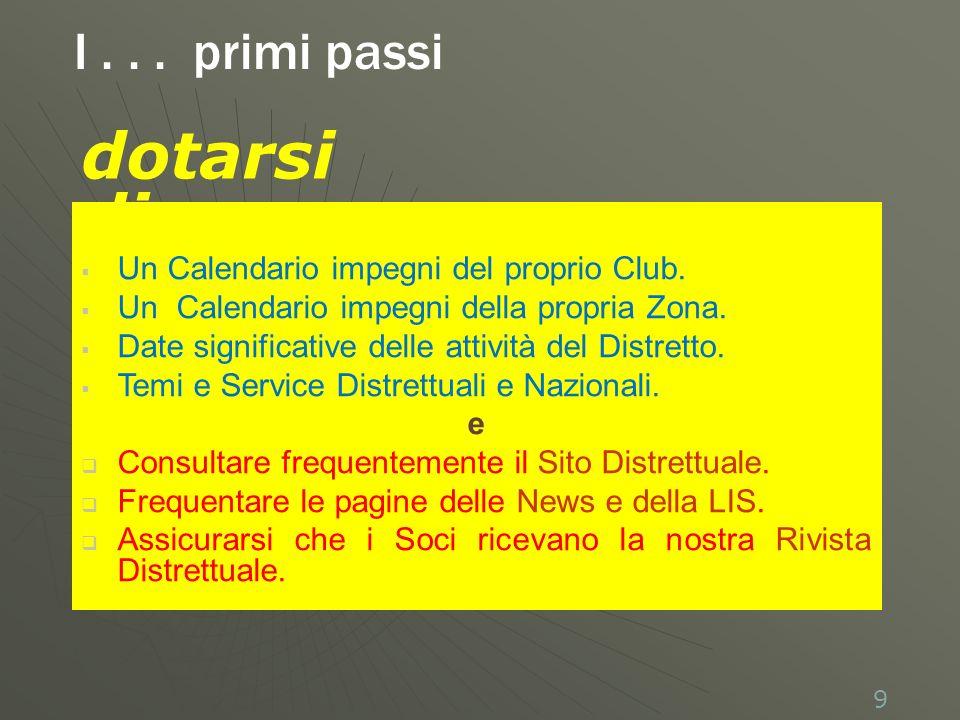 Un Calendario impegni del proprio Club. Un Calendario impegni della propria Zona.