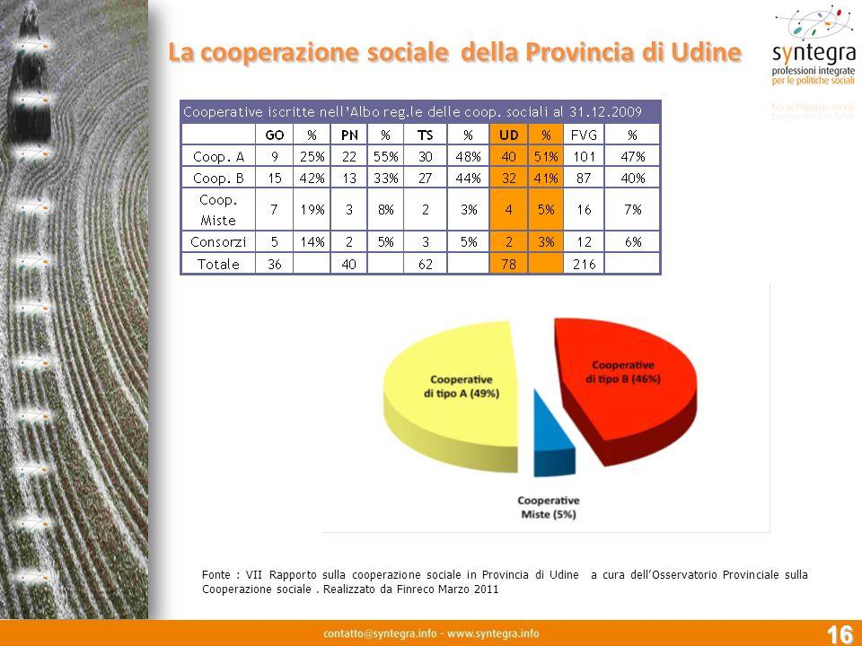 16 La cooperazione sociale della Provincia di Udine Fonte : VII Rapporto sulla cooperazione sociale in Provincia di Udine a cura dellOsservatorio Prov