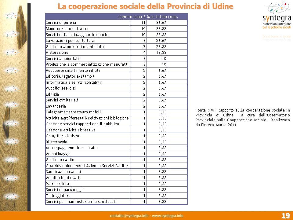 19. La cooperazione sociale della Provincia di Udine Fonte : VII Rapporto sulla cooperazione sociale in Provincia di Udine a cura dellOsservatorio Pro