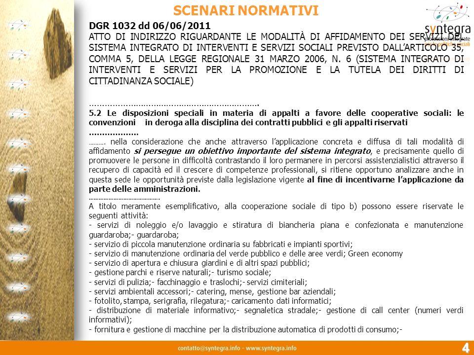 5 SCENARI NORMATIVI DGR 2384/25/11/2010 Linee annuali per la gestione del servizio sanitario reg.le Anno 2011 3.4.4.8 E obiettivo strategico regionale sostenere loccupazione delle persone svantaggiate.