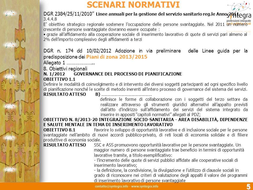 5 SCENARI NORMATIVI DGR 2384/25/11/2010 Linee annuali per la gestione del servizio sanitario reg.le Anno 2011 3.4.4.8 E obiettivo strategico regionale