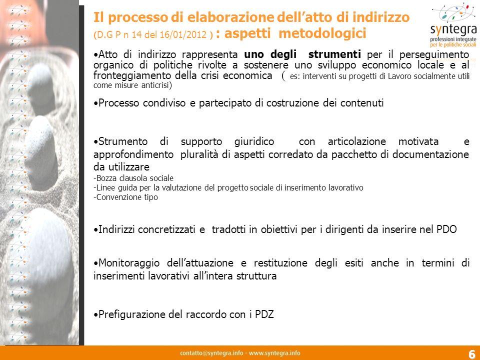 6 Il processo di elaborazione dellatto di indirizzo ( D.G P n 14 del 16/01/2012 ) : aspetti metodologici Atto di indirizzo rappresenta uno degli strum