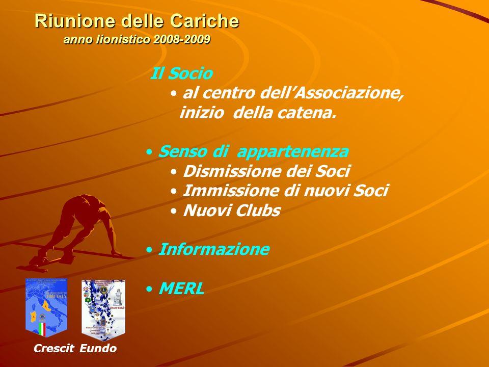 Riunione delle Cariche anno lionistico 2008-2009 Crescit Eundo Il Socio al centro dellAssociazione, inizio della catena.