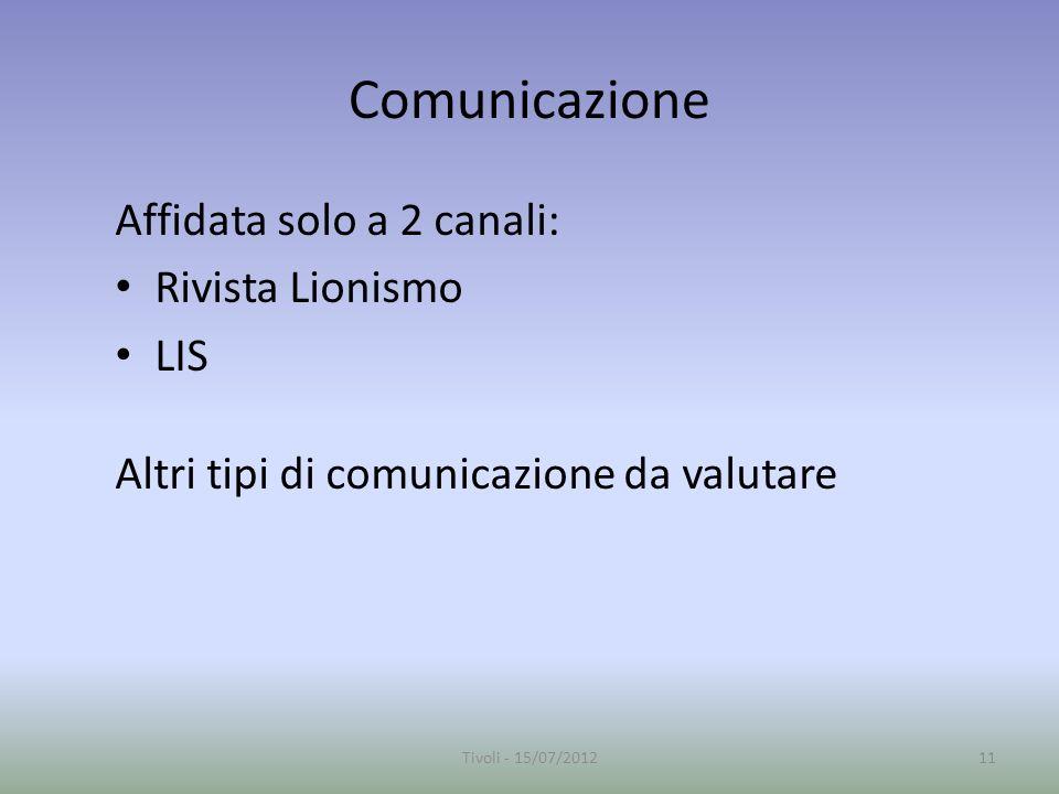 Comunicazione Affidata solo a 2 canali: Rivista Lionismo LIS Altri tipi di comunicazione da valutare 11Tivoli - 15/07/2012