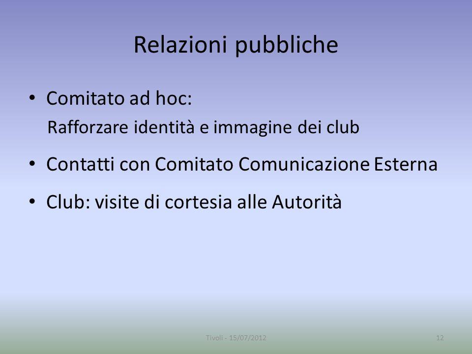 Relazioni pubbliche Comitato ad hoc: Rafforzare identità e immagine dei club Contatti con Comitato Comunicazione Esterna Club: visite di cortesia alle Autorità 12Tivoli - 15/07/2012