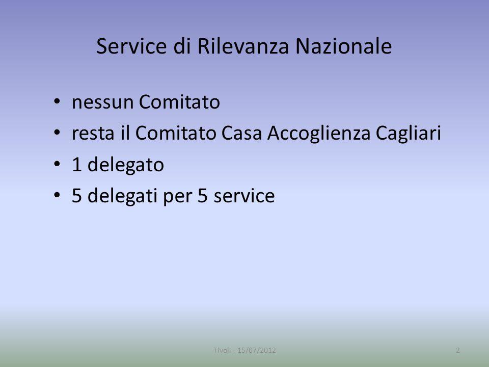 Service di Rilevanza Nazionale nessun Comitato resta il Comitato Casa Accoglienza Cagliari 1 delegato 5 delegati per 5 service 2Tivoli - 15/07/2012