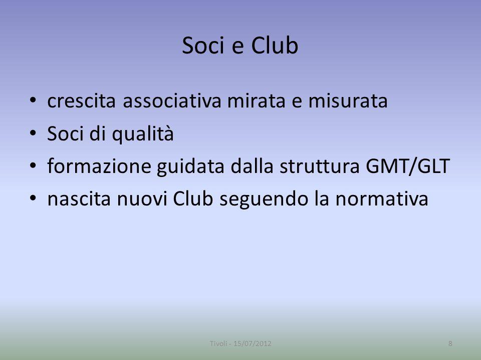 Soci e Club crescita associativa mirata e misurata Soci di qualità formazione guidata dalla struttura GMT/GLT nascita nuovi Club seguendo la normativa 8Tivoli - 15/07/2012