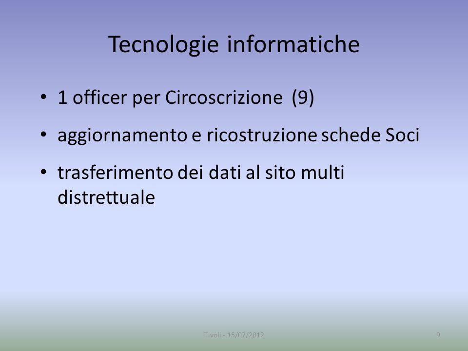 Tecnologie informatiche 1 officer per Circoscrizione (9) aggiornamento e ricostruzione schede Soci trasferimento dei dati al sito multi distrettuale 9Tivoli - 15/07/2012