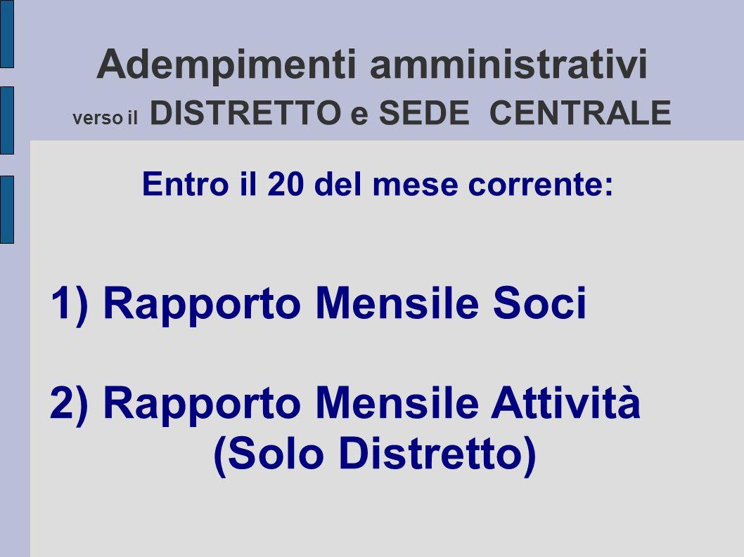 Adempimenti amministrativi verso il DISTRETTO e SEDE CENTRALE Entro il 20 del mese corrente: 1) Rapporto Mensile Soci 2) Rapporto Mensile Attività (Solo Distretto)