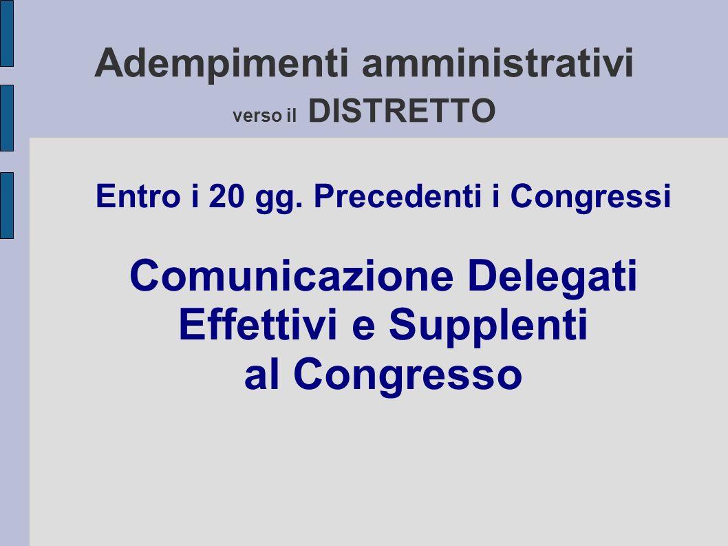 Adempimenti amministrativi verso il DISTRETTO Entro i 20 gg.