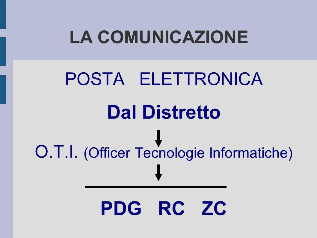 LA COMUNICAZIONE POSTA ELETTRONICA Dal Distretto O.T.I. (Officer Tecnologie Informatiche) PDG RC ZC