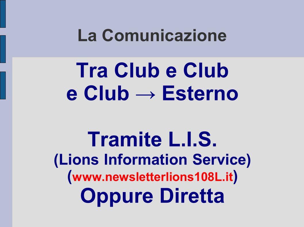 La Comunicazione Tra Club e Club e Club Esterno Tramite L.I.S.