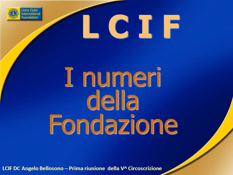 L C I F I numeri dellaFondazione LCIF DC Angelo Bellosono – Prima riunione della V^ Circoscrizione