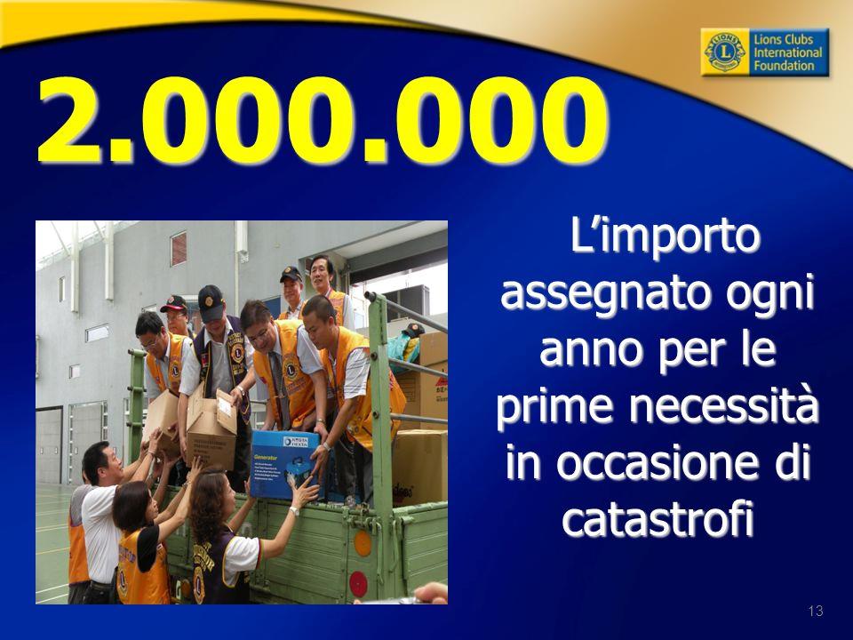 13 2.000.000 Limporto assegnato ogni anno per le prime necessità in occasione di catastrofi