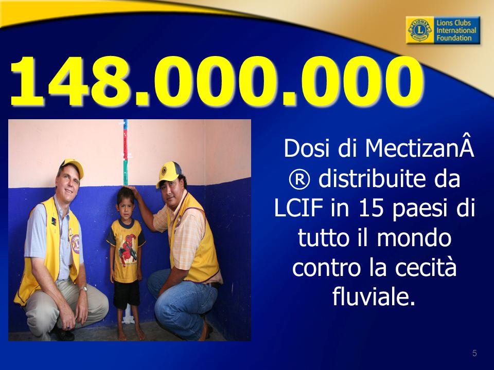 5 Dosi di Mectizan® distribuite da LCIF in 15 paesi di tutto il mondo contro la cecità fluviale. 148.000.000