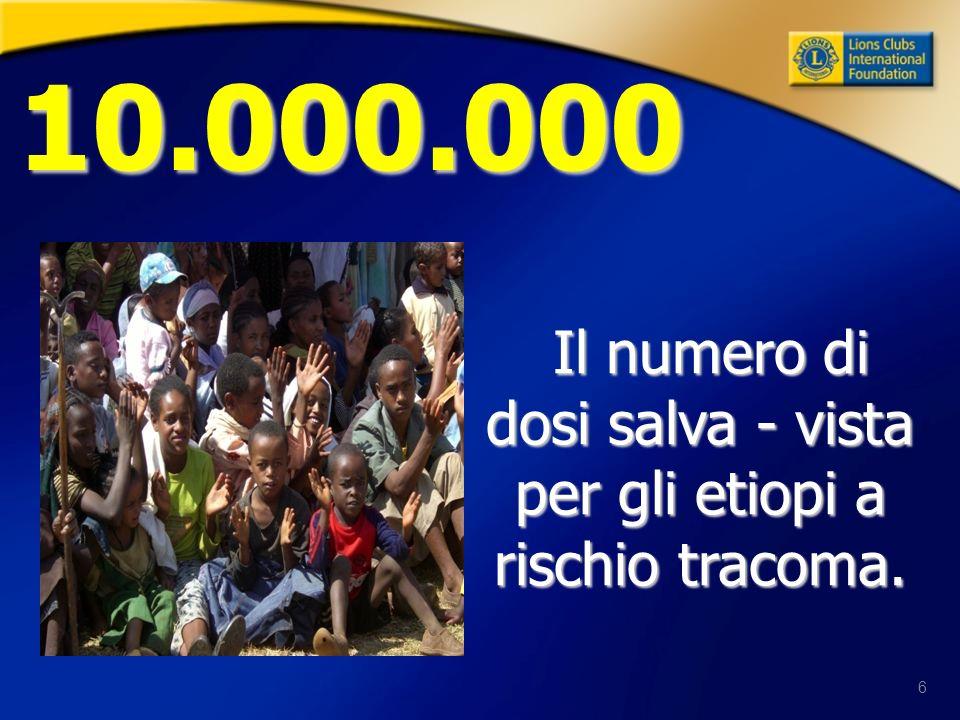 6 Il numero di dosi salva - vista per gli etiopi a rischio tracoma. 10.000.000