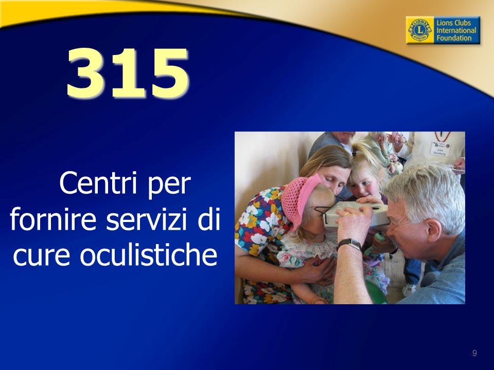 9 Centri per fornire servizi di cure oculistiche 315