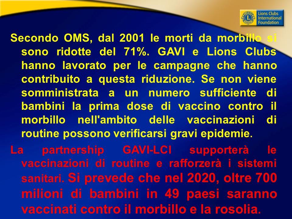 Secondo OMS, dal 2001 le morti da morbillo si sono ridotte del 71%.
