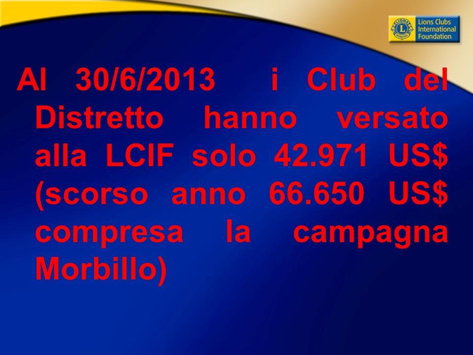 Al 30/6/2013 i Club del Distretto hanno versato alla LCIF solo 42.971 US$ (scorso anno 66.650 US$ compresa la campagna Morbillo)