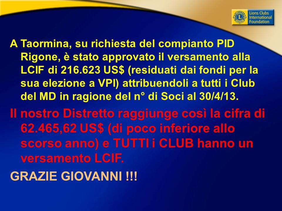 A Taormina, su richiesta del compianto PID Rigone, è stato approvato il versamento alla LCIF di 216.623 US$ (residuati dai fondi per la sua elezione a VPI) attribuendoli a tutti i Club del MD in ragione del n° di Soci al 30/4/13.