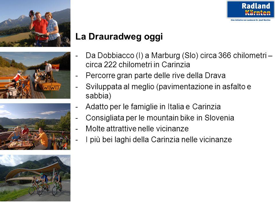La Drauradweg oggi -Da Dobbiacco (I) a Marburg (Slo) circa 366 chilometri – circa 222 chilometri in Carinzia -Percorre gran parte delle rive della Dra