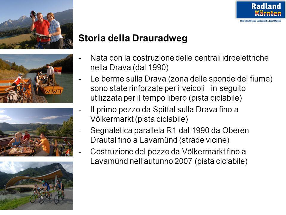Storia della Drauradweg -Nata con la costruzione delle centrali idroelettriche nella Drava (dal 1990) -Le berme sulla Drava (zona delle sponde del fiu