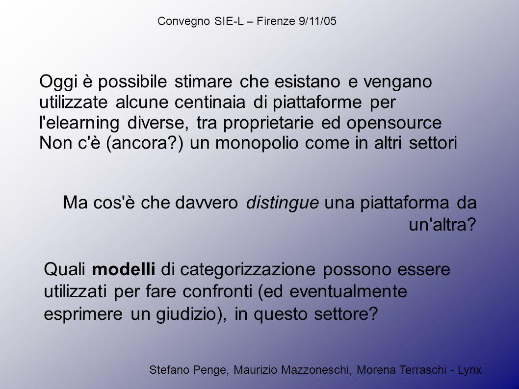 Convegno SIE-L – Firenze 9/11/05 Stefano Penge, Maurizio Mazzoneschi, Morena Terraschi - Lynx Oggi è possibile stimare che esistano e vengano utilizzate alcune centinaia di piattaforme per l elearning diverse, tra proprietarie ed opensource Non c è (ancora ) un monopolio come in altri settori Ma cos è che davvero distingue una piattaforma da un altra.