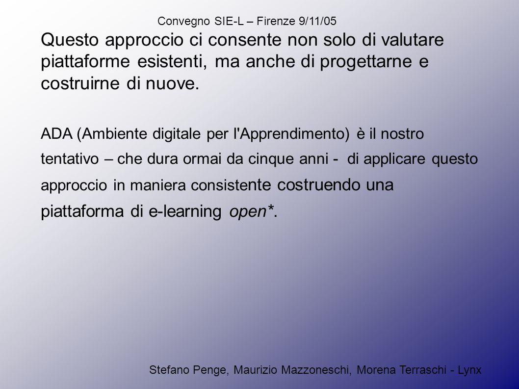 Convegno SIE-L – Firenze 9/11/05 Stefano Penge, Maurizio Mazzoneschi, Morena Terraschi - Lynx Questo approccio ci consente non solo di valutare piattaforme esistenti, ma anche di progettarne e costruirne di nuove.