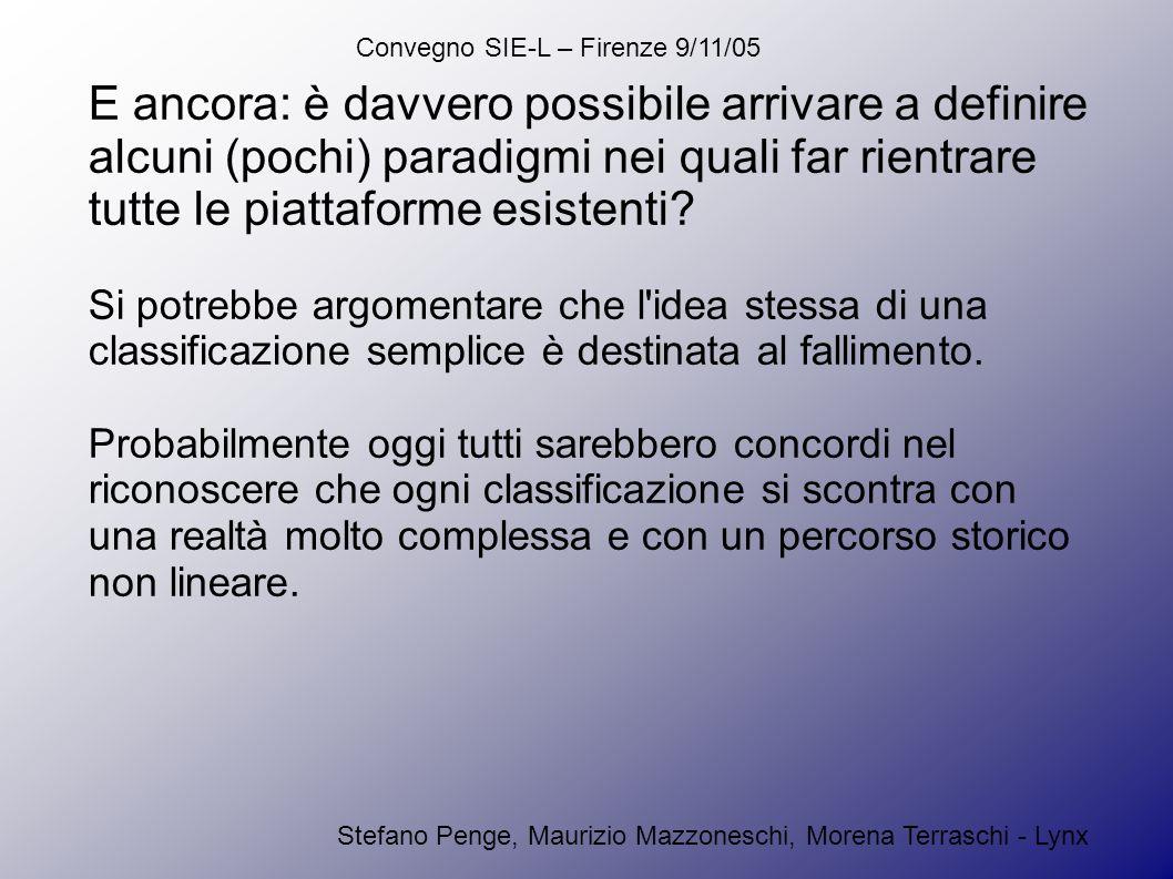 Convegno SIE-L – Firenze 9/11/05 Stefano Penge, Maurizio Mazzoneschi, Morena Terraschi - Lynx Il cammino dei progettisti di piattaforme non è stato lineare, ma su di esso hanno influito molteplici fattori: fattori tecnologici: la disponibilità di banda larga sempre più ampia o l affermarsi di versioni stabili di linguaggi potenti come Java fattori sociologici: la disponibilità di giovani programmatori competenti in linguaggi di scripting lato server o la diffusione del paradigma dell OpenSource fattori commerciali: il crescere delle dimensioni complessive dell e- learning e la sua uscita dal mercato captiveverso quello aperto al singolo uten te fattori culturali: la crescita della generale digital literacy da parte degli utenti, che oggi richiedono un livello di interazione adeguato.