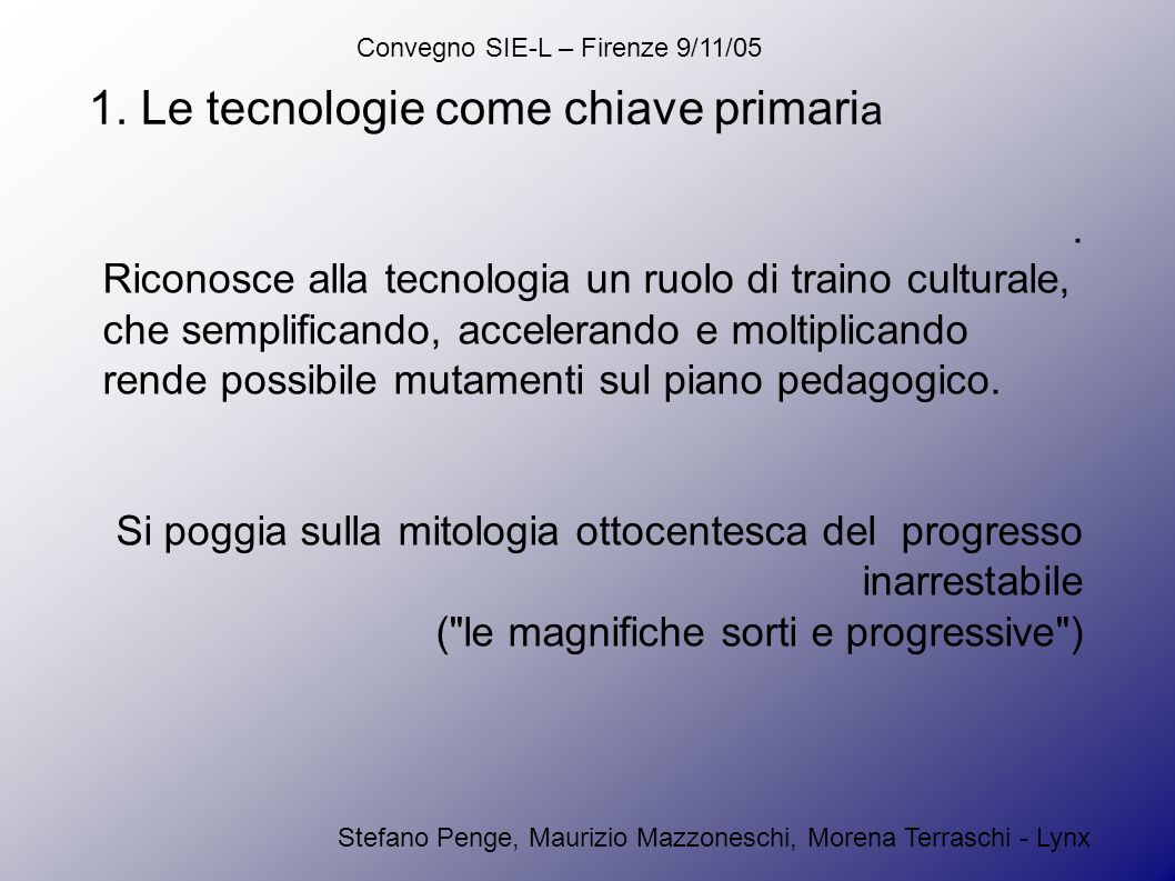 Convegno SIE-L – Firenze 9/11/05 Stefano Penge, Maurizio Mazzoneschi, Morena Terraschi - Lynx Per estensione, oggi vogliamo applicare quel modello all e-learning.