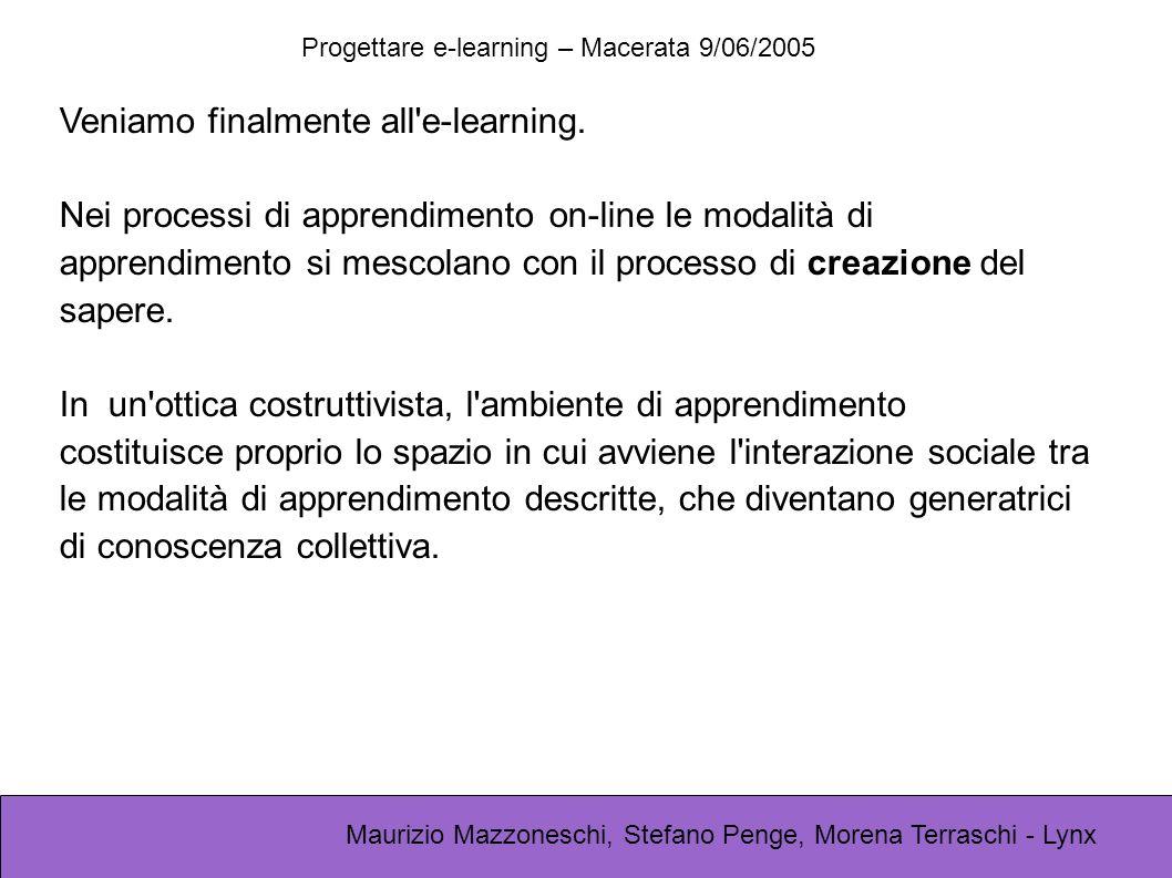 Progettare e-learning – Macerata 9/06/2005 Maurizio Mazzoneschi, Stefano Penge, Morena Terraschi - Lynx Veniamo finalmente all'e-learning. Nei process
